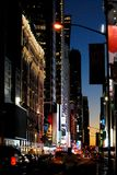 Magic manhattan with traffic at night royalty free stock photo