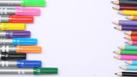 Back to school Magic Marker and coloured pencil and on white background. Magic Marker and  colored pencil Stationery  work station Royalty Free Stock Photo