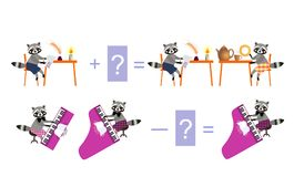 Magic math with cute raccoons. Educational game for children. Stock Images