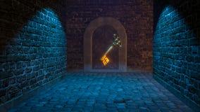 Magic medieval key 3d illustration. Rendered Stock Photo