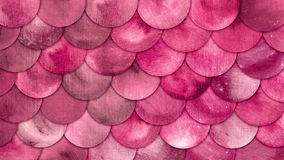 Magic Mermaid Bright Pink Color Scales Watercolor Fish squame background.