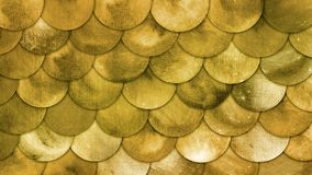 Magic Mermaid Golden Scales Watercolor Fish Squame Background. Bright Summer brassy pattern with reptilian scales vector illustration