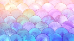 Magic Mermaid Scales Watercolor Fish squame background. Bright summer pink and blue sea pattern with reptilian scales vector illustration