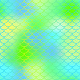 Magic mermaid tail background. Colorful seamless pattern with fish scale net. Fresh green mermaid skin surface. Fish scale texture  pattern. Magic mermaid tail Stock Photo