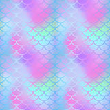 Magic mermaid tail texture. Fish scale seamless pattern. Mermaid  background for beach party or summer wedding design. Romantic gradient mesh with fish scale Stock Photo