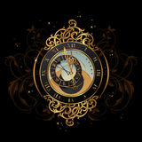 Magic midnight. Vintage astronomical clock shortly before midnight - perfect for new years eve Stock Photography