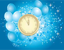 Magic midnight. Clock on blue background Royalty Free Stock Photo