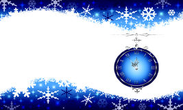 Clock on new year s eve. Colorful blue christmas assumption. Five minutes before the New Year Stock Photos