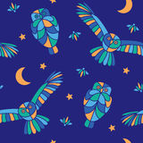 Magic midnight - seamless pattern. Fabulous night illustration with flying owls and fireflies royalty free illustration