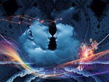 Magic of the Mind. Dreaming Intellect series. Visually attractive backdrop made of human face and technological elements suitable as element for layouts on mind royalty free stock photo