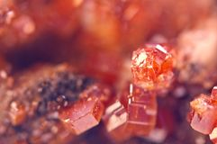 Magic of minerals.Texture Red Background crystals. Beautiful dre. Amy artistic background Royalty Free Stock Images