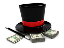 Magic money. 3d illustration of magic hat and wand with dollars stack Stock Photos