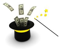 Magic money. 3d illustration of magic wand and hat with money Royalty Free Stock Image