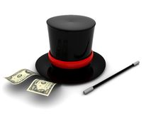 Magic money. 3d illustration of magic hat and money, over white background Royalty Free Stock Images