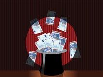 Magic money hat Stock Photo
