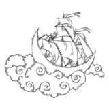 Magic moon flying ship in clouds above the sky. Fairy dreamland sailor, vector illustration for children book, cards, pages, prints stock illustration