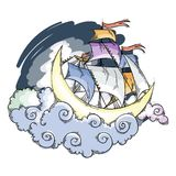 Magic moon flying ship in clouds above the sky. Fairy dreamland sailor, vector illustration for children book, cards, pages, prints royalty free illustration