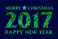 Magic mosaic green inscription 2017 on dark field. Magic mosaic green inscription 2017 Merry Christmas and Happy new year with star on dark field - creative Royalty Free Stock Image