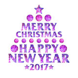 Magic mosaic inscription in the form of a Christmas tree. Magic mosaic inscription 2017 Merry Christmas and Happy new year in the form of a Christmas tree Stock Images
