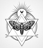 Magic moth with a pattern in the form of a human skull. Esoteric symbol, sacred geometry. Stock Photo