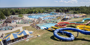 Magic Mountain, Moncton. Hilltop view of Magic Mountain park in Moncton, New-Brunswick, Canada. It is mainly a water park, which is part of the Magnetic Hill Royalty Free Stock Image