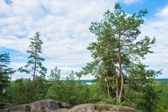 At magic mountain Sampo, Karelia. Sampo, the magic mountain - a place of power and fulfillment of the most cherished desires, Karelia, Russia Royalty Free Stock Photography