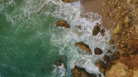 Magic movements and splashes of waves on the rocks of the shores, Atlantic Ocean. stock video