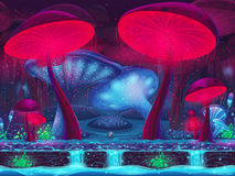 Magic Mushroom Hollow - mystical background (seamless).  royalty free illustration