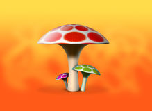 Magic Mushrooms. A very colorful scene of three mushrooms placed on an orange background Royalty Free Stock Photos