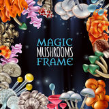 Magic Mushrooms Frame Background stock illustration