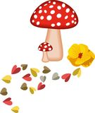 Magic Mushrooms and Hearts Royalty Free Stock Image