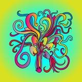Magic mushrooms pattern. Psychedelic graphic poster. Vector gradient illustration. vector illustration