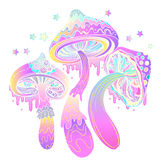 Magic mushrooms. Psychedelic hallucination. Vibrant vector illus. Tration. 60s hippie colorful art vector illustration