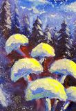 Abstract magic mushrooms on a winter blue background. Forest of spruce trees. Snowing original oil painting. Impressionism. Art. Stock Photography