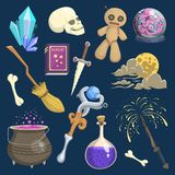 Magic mystic vector witchcraft wizard wodo trick symbol magician wand and surprise entertainment fantasy carnival. Mystery tools cartoon miracle decoration stock illustration