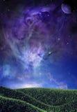 Magic Nebula. A background setting of a field overlooking a magical nebula and stars Royalty Free Stock Photo