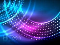 Magic neon circle shape abstract background, shiny light effect template for web banner, business or technology. Presentation background or elements, vector Stock Photos