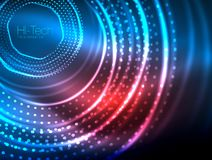 Magic neon circle shape abstract background, shiny light effect template for web banner, business or technology. Presentation background or elements, vector stock illustration