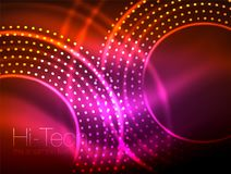 Magic neon circle shape abstract background, shiny light effect template for web banner, business or technology. Presentation background or elements, vector Vector Illustration