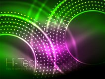 Magic neon circle shape abstract background, shiny light effect template for web banner, business or technology. Presentation background or elements, vector Royalty Free Stock Images