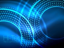 Magic neon circle shape abstract background, shiny light effect template for web banner, business or technology. Presentation background or elements, vector Royalty Free Illustration