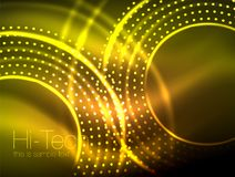 Magic neon circle shape abstract background, shiny light effect template for web banner, business or technology. Presentation background or elements, vector Stock Photo