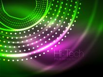Magic neon circle shape abstract background, shiny light effect template for web banner, business or technology. Presentation background or elements, vector Stock Image