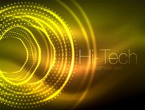 Magic neon circle shape abstract background, shiny light effect template for web banner, business or technology. Presentation background or elements, vector Royalty Free Stock Photo