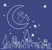 Magic night. Vector illustration of magic night, with little fairy with magic torch standing on the moon above the city Royalty Free Stock Photography