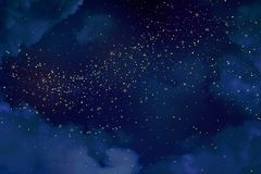 Magic night dark blue sky with sparkling stars.