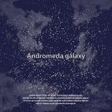 Magic night dark blue sky with sparkling stars vector wedding invitation. Andromeda galaxy. Starry glitter powder splash vector illustration