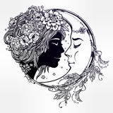 Magic night fairy with a moon illustration. Stock Images