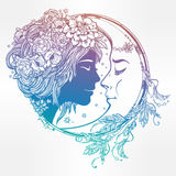 Magic night fairy with a moon illustration. Royalty Free Stock Image