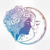 Magic night fairy with a moon illustration. Stock Photography